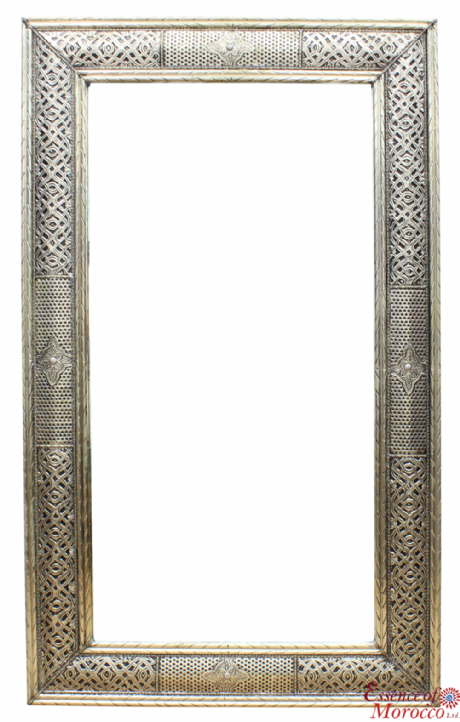 Moroccan Mirror Silver Maillechort Hand Engraved Embossed XL 100cm x 60cm (BM27)
